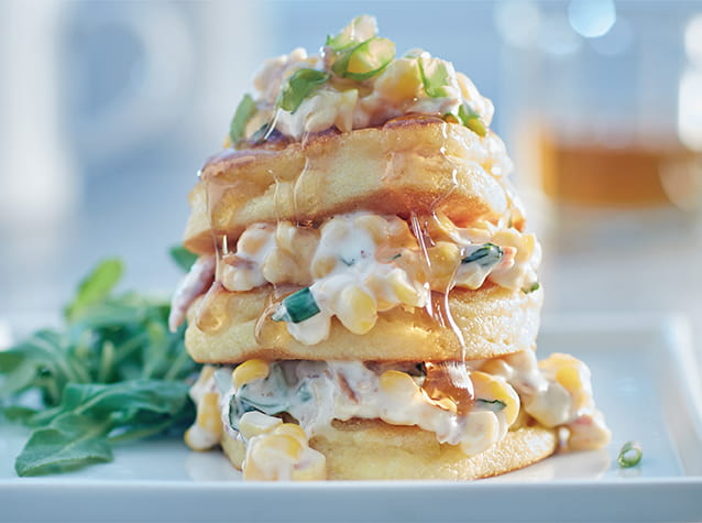 Bacon Corn Johnny Cakes with Maple Drizzle