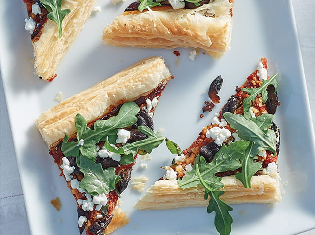 Mushroom Tart with Tomato Jam, Goat Cheese and Fresh Oregano